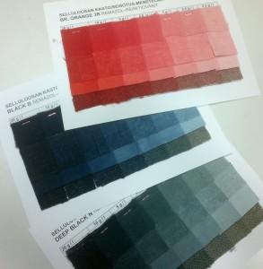 Esimerkit Remazol-purkkiväreistä selluloosakuiduille värin voimakkuuden ollessa 20 g/l - 0,2 g/l.