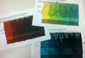 Mm. tällaisia sivuja yhdistelmäväreistä selluloosakuiduille, värin pitoisuus kaikissa 20 g/l.