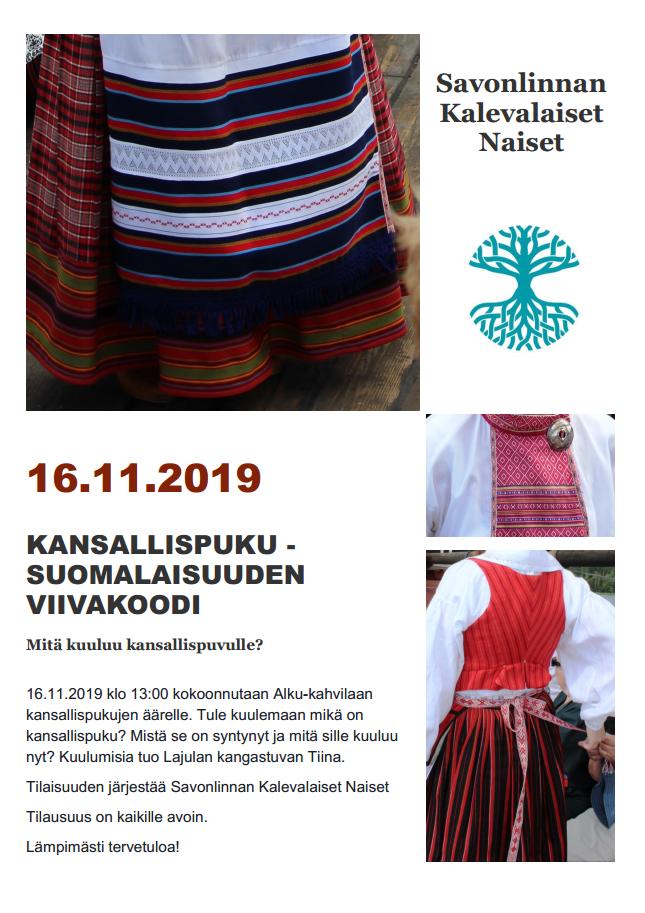 Kansallispuku luento Savonlinnassa 16.11.2019 Kahvila Alku